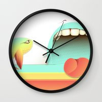 fear Wall Clocks featuring Fear by Laima St