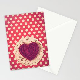 Red Crochet Heart Stationery Cards