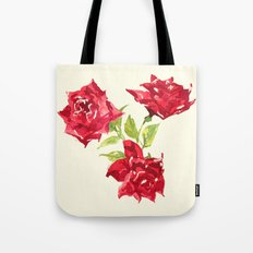 Three Red Roses Tote Bag