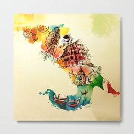Vintage Italy Map City Travel Love Watercolor Metal Print