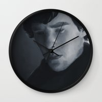 sherlock holmes Wall Clocks featuring Sherlock Holmes by Riley