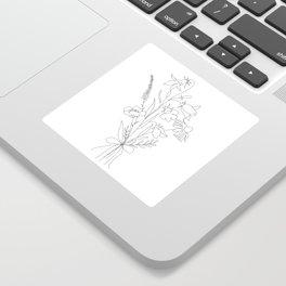 Small Wildflowers Minimalist Line Art Sticker