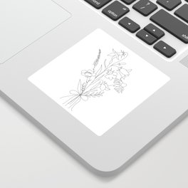 Small Wildflowers Minimalist Line Art Sticker