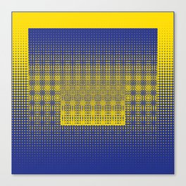 yellow blue dots worl Canvas Print