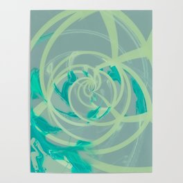 spiral line pattern painting texture abstract in blue green Poster