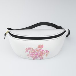 Sea Turtle Design in Pink and Orange Paint Drops Pattern Fanny Pack