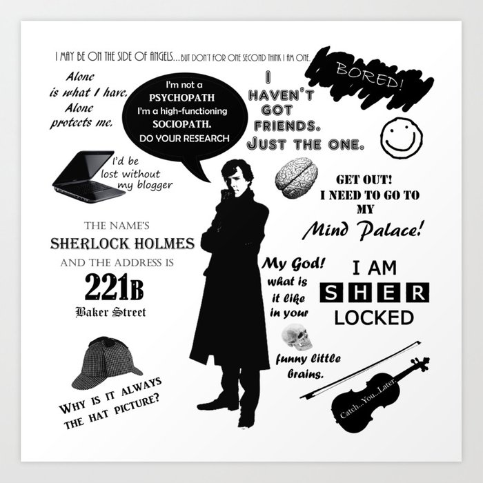 Sherlock Holmes Quotes: Sherlock Holmes Quotes Art Print By Pmdooling