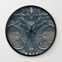 prometheus Wall Clocks featuring Prometheus - A film poster by Dukesman