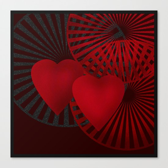 Love. The loving hearts .Black background . Canvas Print