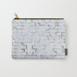 Vintage White Brick Wall Carry-All Pouch