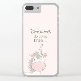 Dreams do come true art print, unicorn print, art for kids, art for baby, kids room decor Clear iPhone Case