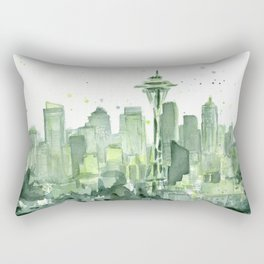 Seattle Watercolor Painting Rectangular Pillow