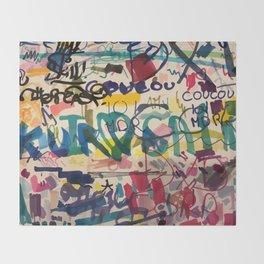 Urban Graffiti Paper Street Art Throw Blanket