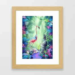 Girl & Flamingo Framed Art Print
