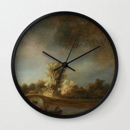 The Stone Bridge - Rembrandt Harmensz van Rijn Wall Clock