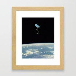 ironing desk in space Framed Art Print