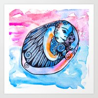 introvert Art Prints featuring The Introvert by Dawn Patel Art