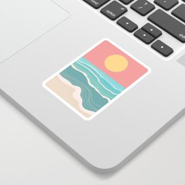 Crashing wave on sunny bay Sticker