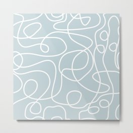 Doodle Line Art | White Lines on Silvery Blue Metal Print