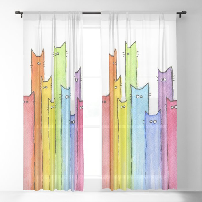 Cat Rainbow Watercolor Pattern Sheer Curtain