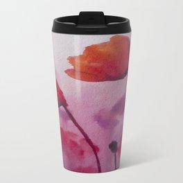 Watercolor Poppies Metal Travel Mug