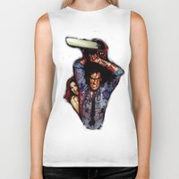 evil dead Biker Tanks featuring evil dead  by Official Nicolas Cage Cats