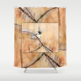 Joys Are My Wings Chickadee Art Shower Curtain