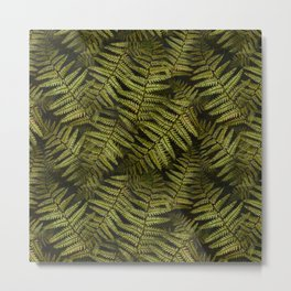 Among the ferns in the forest (military green) Metal Print