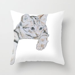 Thoughtful Kitten Throw Pillow