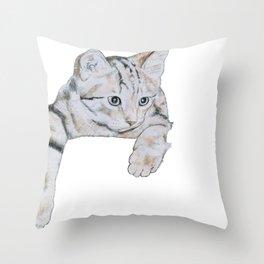 Thoughtful Kitten Throw Pillow
