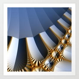 Pleated abstract with gold and jewels Art Print