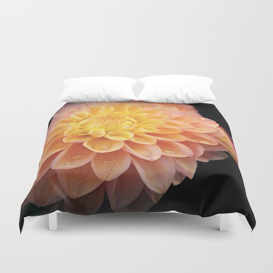 Pretty Pink Yellow Dahlia Duvet Cover