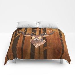 Proud deer in forest 1- Watercolor illustration Comforters