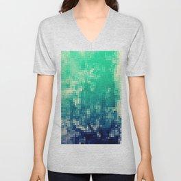 Green Teal Blue Pixels Unisex V-Neck