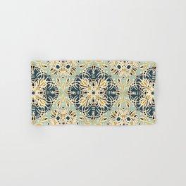 Protea Pattern in Deep Teal, Cream, Sage Green & Yellow Ochre  Hand & Bath Towel