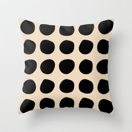 Irregular Polka Dots black and cream Throw Pillow