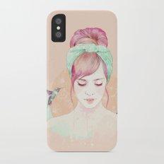 Pink hair lady iPhone X Slim Case