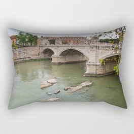 View to the historical buildings and bridge, Rome, Italy Rectangular Pillow
