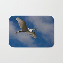 Egret In Flight With Branch Bath Mat