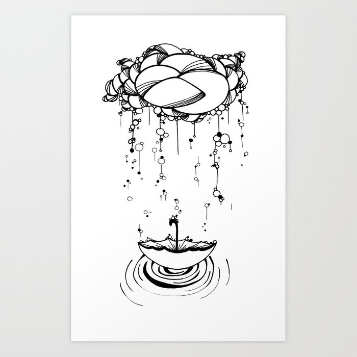 Abstract Whimsical Illustration Rain Cloud Umbrella Black And White Pen And Ink Art Print By Treelovergirl
