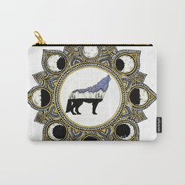 Double Exposure Wolf Howling at the Moon Mandala Carry-All Pouch