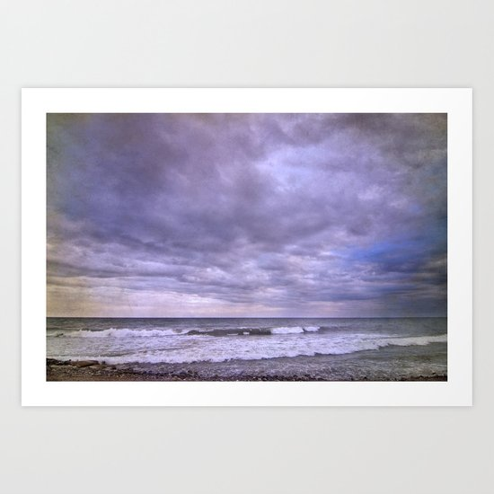 Rain storm at the sea Art Print