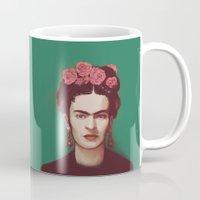 frida Mugs featuring Frida by ravynka