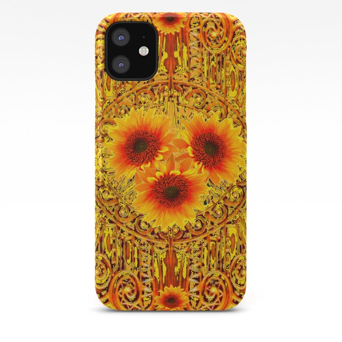 ART DECO GOLDEN SUNFLOWERS ABSTRACT IPhone Case By