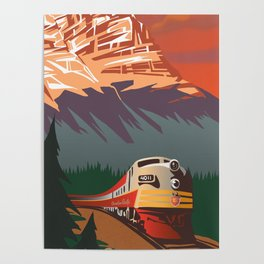 RETRO TRAIN TRAVEL POSTER Poster