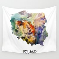 poland Wall Tapestries featuring Map of Poland watercolor by jbjart