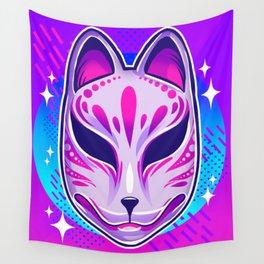 Neon Noh - Kitsune Wall Tapestry