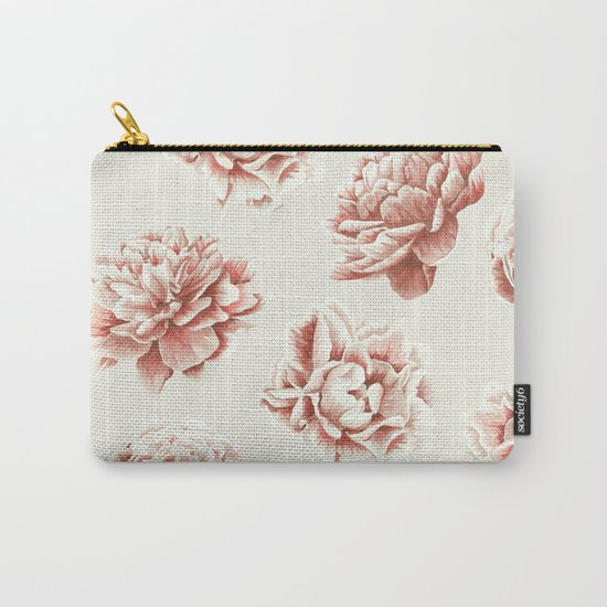 Rose Garden Vintage Rose Pink and Cream Carry-All Pouch
