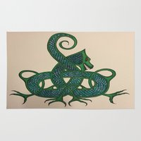 celtic Area & Throw Rugs featuring Celtic Dragon by Erin Malbuisson-Delaney