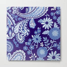 Floral and Paisley Mix Blues Metal Print
